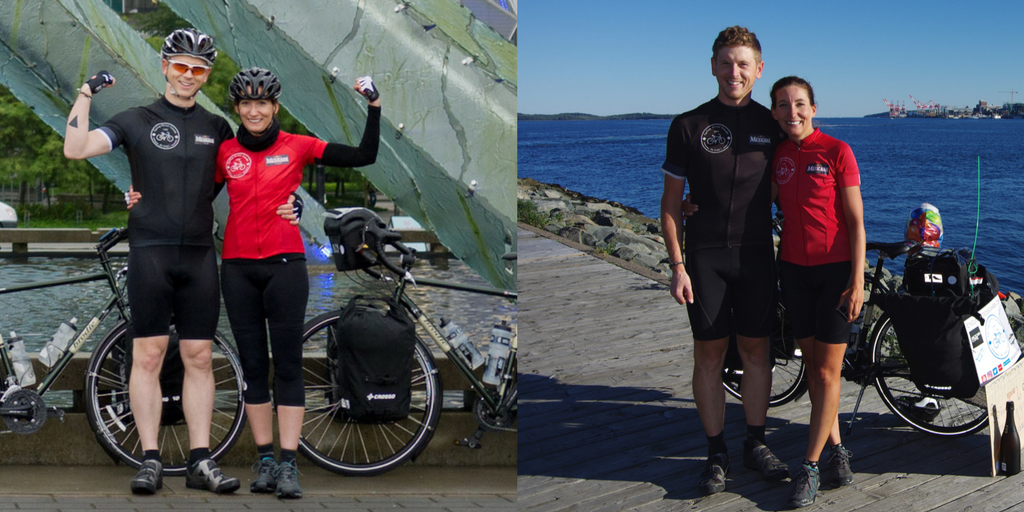 MIchelle and Nathan in Vancouver, BC at the start of the ride across Canada and at the end in Dartmouth, Nova Scotia